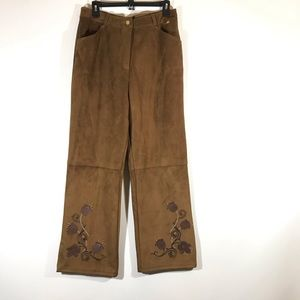 St John Pants Brown Floral Pants Size 14